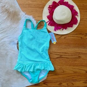Mint Seersucker One Piece Swim Suit